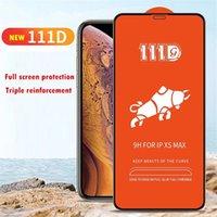 111D غطاء كامل الزجاج المقسى حامي الشاشة آيفون 6 7 8 × XR 11 12 13 ميني برو ماكس سامسونج Note20 A21S A11S A71 A51 A41 A31