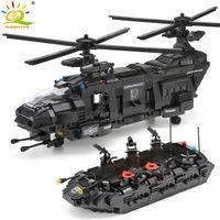 Huiqibao 1351 adet Askeri Ordu Swat Polis Kamyon Yapı Taşları Spacehip 8 Rakamlar Helikopter Şehir Tuğla Oyuncaklar Çocuklar için