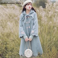 Женская шерстяная смесь 2021 осень зима длинные шерстяные мыся пальто женщины японский стиль Mori девушка свежий цветок вышивка синяя куртка с капюшоном ла