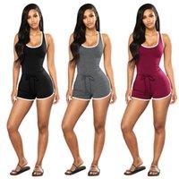 Yoga Outfits 2021 Stil Europäer und amerikanischer Massivfarbe Sexy Racer Back Sportswear Jumpsuit Online Einkaufen Baumwollmischung