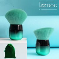 ZZDOG 1Pcs Fluffy Face Powder Foundation Blush Brush Soft Mushroom-Head Makeup Brush Chubby Cosmetic Beauty Tools With Bag