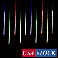 Светодиодные световые огни, светодиодные метеорные душевые светильники подсветки Multi Color 50 см 10 трубки 480LEDs Водонепроницаемый снег падения дождя сосулька сосульки сад