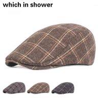 Bereler Moda Sonbahar Kış Bere Kap Unisex Erkek Şapka İngiltere Stil Retro Kadınlar Yün Düz Erkek Ekose Boina Kadın Visor Bone1