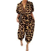 Frauen Mode Lässig Leoparden-Druck-Overall-Spielanzug-Strampler plus Größe Harajuku Herbstsommer