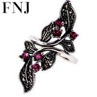 Cluster Rings FNJ Blumenring 925 Silber Marcasit Roter Zirkon Original S925 Sterling Für Frauen Schmuck Einstellbare Größe1