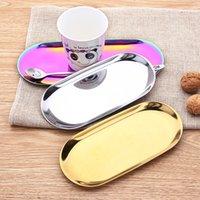 Placa de ouro bandeja placa de sobremesa colorido aço inoxidável aço inoxidável bandeja de toalha de cozinha armazenamento de cozinha popular produto decoração lls678