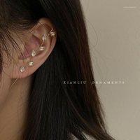 Damızlık AVEBIEN Küpe Kadınlar için Kulak İğne Wrap Paletli Kanca Surround Auricle Çapraz Bakır Kakma Zirkon Piercing Earring1