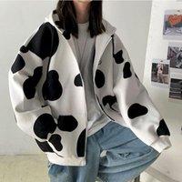 2020 outono inverno casaco coreano vaca imprimir solto estudante novo casal roupa moda top mulheres roupas de tamanho grande goth kwaii