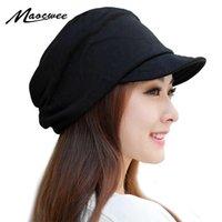 Maocwee Kış kadın Şapkalar Erkek Kız Rahat Hip Hop Kap Örme Sıcak Kap Kadın Skullies Beanie Moda Yumuşak Kap Y201024 boyunca