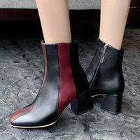 الخريف والشتاء لون جديد مطابقة كعب سميك المرأة الأحذية ساحة رئيس حزب الأزياء أحذية قصيرة زائد الحجم 34-48 ارتفاع 7CM1