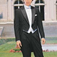 Custom Made to Misurare tailcoat, su misura Black Groom smoking satinato Picco di risvolto del picco, gilet bianco, coda lunga da uomo su misura Tuxedos 201113