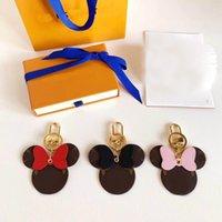 Carta Imprimir Mouseer Design Com Diamond Bow Keychain PU Couro Animal Chaveiro Chaveiro Chaveiro Moda Chave Anel sem caixa