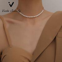 Жемчужные Chokers ожерелья сгущает цепь Choker 14K позолоченное натуральное жемчужное ожерелье мода женские ювелирные украшения ожерелье