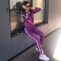 FENGGUILAI ATIN BATIN Две части Комплект для женщин Элегантные Топ и штаны Установить осень 2020 Женский повседневный потные костюмы Фитнес-наряды T200824
