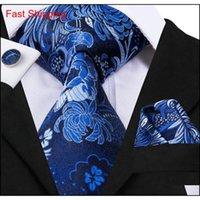 Hi-Tie 100% Шелковый синий галстук набор деловых людей Цветочный узор с цветочным узором галстук для платки Запонки Установленные галстуки для мужчин Свадьба Часть Qylzwq Queen66