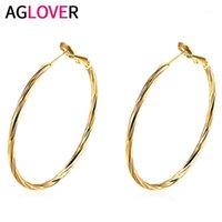 Hoop Huggie Aglover 925 Sterling Silber 48mm Luxus Charme Gold Runde Große Ohrringe für Frau Mode Party Hochzeit Schmuck Geburtstagsgeschenk1