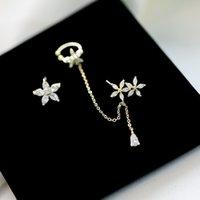 한국 브랜드 패션 고급 지르콘 눈송이 꽃 술 귀걸이 귀 뼈 클립 기질 여성 S925 실버 바늘 보석 귀걸이 선물