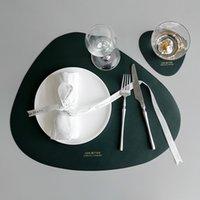 2 шт. Nordic PU кожаные шикарные посуды Pad Placemat водонепроницаемый нескользящий теплоизоляционный изоляционный стол коврик творческий чаша коврик для чаши горы T200703