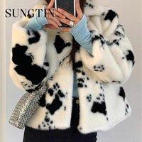 teñido Tie-vaca Sungtin Imprimir Escudo Mujeres Fuax peludo invierno gruesa 2020 chaqueta de la manera caliente de peluche elegante Outwear Mujer