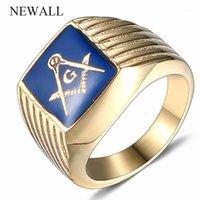 Uomo in acciaio inox di alta qualità uomini gratis muratori simbolo anello oro dito oro titanio acciaio freemason anello punk retro maschio1