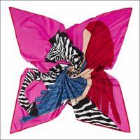 Grande Cavalo Quadrado Imprimir Lenço De Seda Shawls Mulheres Handmade Vintage Scarves Echarpe En Soie Animal Laranja Swill Shawl 130 * 130