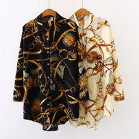 여성 디자이너 옷깃 목 블라우스 봄 쉬폰 인쇄 꽃 럭셔리 카디건 블라우스 패션 셔츠 탑 태양 보호 셔츠 플러스 사이즈 S-5XL