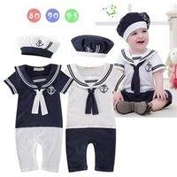 2pcs Pagliaccetti per bambini Boys Sailor Suit Style Navy Style Baby Abbigliamento Girls Girls Tipsuits Cappello Birthday Party Costume Cosplay Costume Estate Outfit J1221