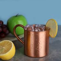 Pure Pure Rame Mug Handle European American Style Moscow Mule Cocktail Glass Pure Copper Tazza di rame Ristorante Bar Cold Drink Tazza H3 Y200106
