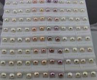 Shanxiahu Zhuji perle d'eau douce Boucles d'oreilles perles d'eau douce 925 Boucle d'Argent 5 ~ 6MM Mix Couleur blanc rose pourpre 50pairs / lot