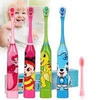 Padrão dos desenhos animados Crianças escova de dentes dupla escova de dente duplo cabeças de dentes elétricos escova ou escova de substituição cabeças crianças