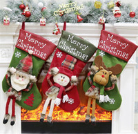 Plush Christmas Stocking Gift Bags Large Size Latticed Candy...