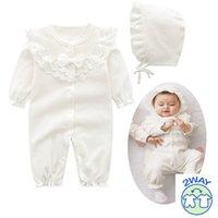 Recém-nascido gril algodão rendas romper com bernat set meninas bebê global branco rosa sleepping saco infantil roupas nascidas 3m 6m 9m 1t presente y1219