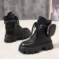 Çizmeler Sonbahar Kış Ayakkabı Motosiklet Ayak Bileği Cüzdan Savaşı Kadınlar Için Platformu Yapay Deri Tıknaz Blok Topuk Bayanlar