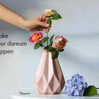 Taşınabilir Güzel Nordic Plastik Vazo Saksı Çiçek Sepeti Çiçek Vazo Anti Güz Masaüstü Balkon Ofis İmitasyon Seramik