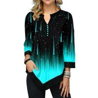 2020 Sonbahar Meteor Baskı Kadınlar Gömlek Uzun Kollu Casual 3D Bluz Gömlek Kadın Bölünmüş V-Yaka Düzensiz Düğme Tops Artı boyutu 5XL