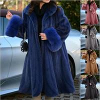Женский меховой FUX зимняя мода с длинным рукавом сплошной цвет кардиганское теплое пальто повседневный поворотный воротник