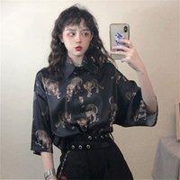 Deeptown Vintage Leopar Kadın Bluz Harajuku Hayvan Baskı Bayanlar Tops Yaz Gevşek Streetwear Gömlek Camisas Mujer Y200828