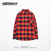 Men's Casual Shirts Japanese Lattice Men Shirt Button Red Loose Long Sleeve Vintage Kemeja Pria Party Mens Clothing Autumn MM60NCS