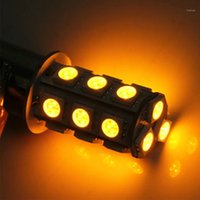 Hotsale P21W 18 LED SMD 1156 BA15S 18SMD 18LED 18 SMD 노란 자동차 전구 정지 테일 브레이크 라이트 리어 램프 DC 12V1