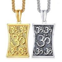 Кулон Ожерелья из нержавеющей стали Йога Ожерелье Индия Религиозный Лотос Знак Ювелирные Изделия для мужчин Женщины Tag1