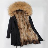 Moda-Gerçek Doğal Kürk Ceket Gri Maomaokong Moda Gerçek Kürk Kadınlar Için Uzun Parkas Siyah Kış Parka