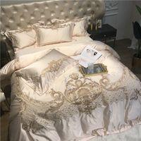 Luxus-Champagner-blaue Seide ägyptische Baumwolle-Gold-Stickerei europäischen Palast Bettwäsche-Set-Bettdecke Bettwäsche / Leinen-Kissenbezüge T200706