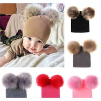 Kids Designer Beanies Autumn Winter Newborn Baby Warm Knitted Beanies Big Double Ball Wool Hats Infant Toddler Venonat Beanies Rra2031 G7Jv