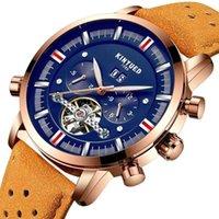 المعصم kinyued هيكل عظمي tourbillon التلقائي الساعات الميكانيكية الرجال الفاخرة الذهبي الذكور الرياضة للماء ساعة اليد relogio masculino1