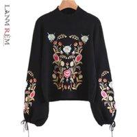 LANMREM Automne Hiver Broderie Pullover Vintage Lanterne Swech Sweater O-Cou O-Cou Kint Des Tops pour femme YJ723 210203