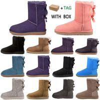 2020 Diseñador Mujeres Australia Botas Australianas Mujeres Invierno Piel de nieve Furry Satin Boot Botines Botines Piel Cuero al aire libre Bowtie Shoes