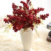 1 قطعة عيد الميلاد الأحمر الفاكهة التوت الفول باقة فرع الفاصوليا الاصطناعية الزهور باقة ميمون عيد الميلاد ديكور المنزل berries 1
