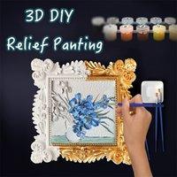 Pintura 3D por números Pintura al óleo Van Gogh Noche estrellada para adultos y niños DIY Relief Pintura para la decoración del hogar