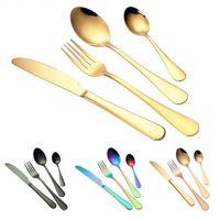 4 قطعة / المجموعة الفولاذ المقاوم للصدأ أواني الطعام الأزياء السكاكين أدوات المائدة سكين شوكة ملعقة للمنزل مطبخ مطعم بار