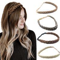 Örgülü Saç Bandı Sentetik El Bağlı Saç Aksesuarları Şapkalar Kadınlar ve Kızlar Için İki Telli Örgü Saç